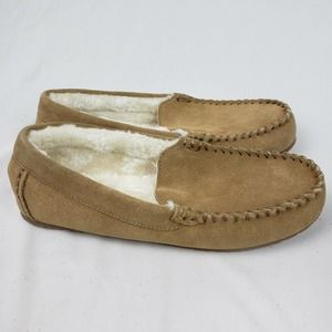 Lands' End Suede Leather Moccasin Slippers Tan